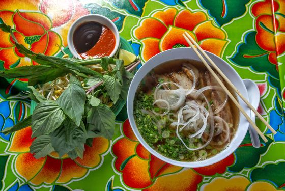 Lamb Pho, Saigon Style with rice noodles, herbs, and bean sprouts.