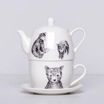 Porcelain Teapot Set with Bears