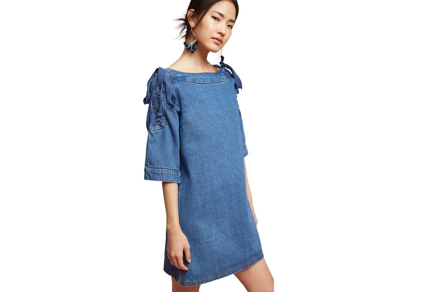 Joa Denim Open-Shoulder Shift Dress