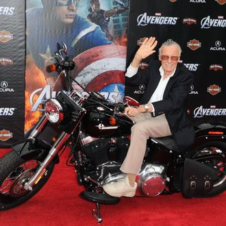 HOLLYWOOD, CA - APRIL 11: Writer/producer Stan Lee arrives at the premiere of Marvel Studios'