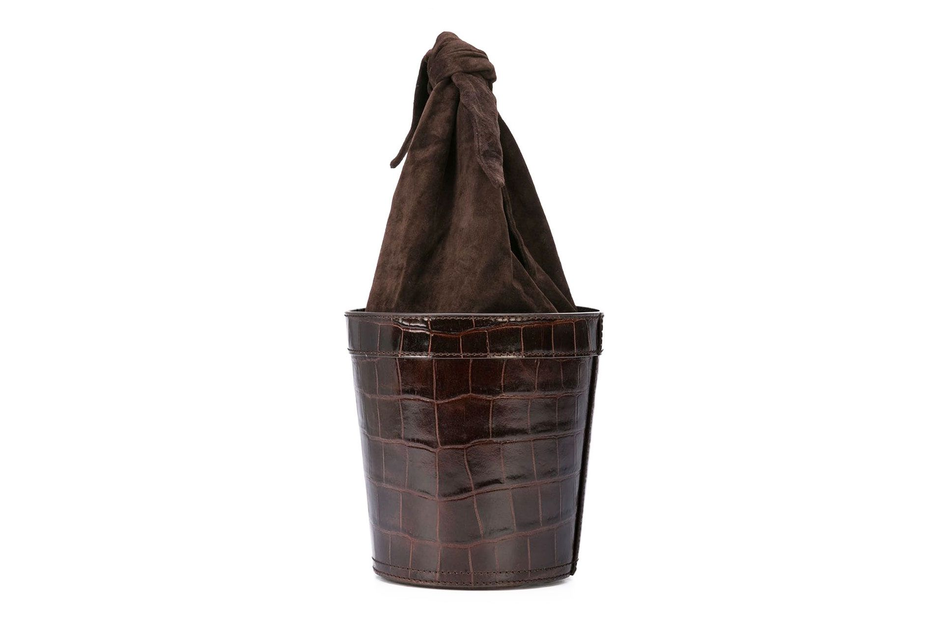 Staud Britt croc-effect leather and suede bucket bag