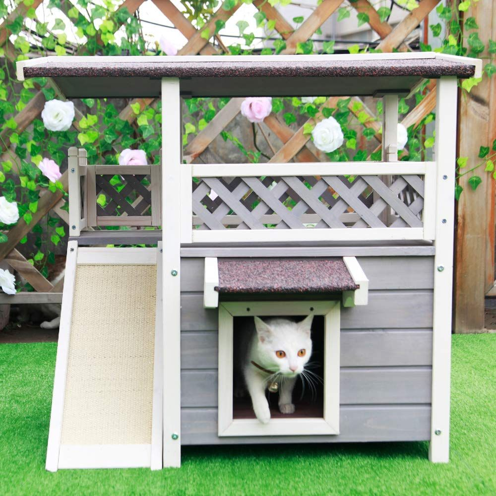 Petsfit Outdoor Cat House with Escape Door and Scratching Pad