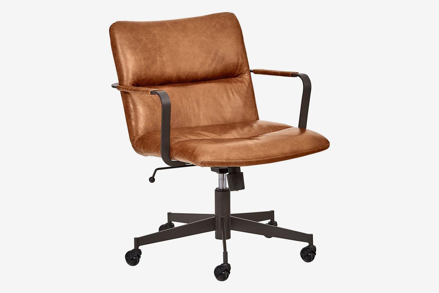 Rivet Mid-Century Leather Three-Panel Chair on Wheels