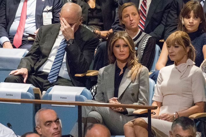 John Kelly with his face in his hand during Trump's U.N. speech.