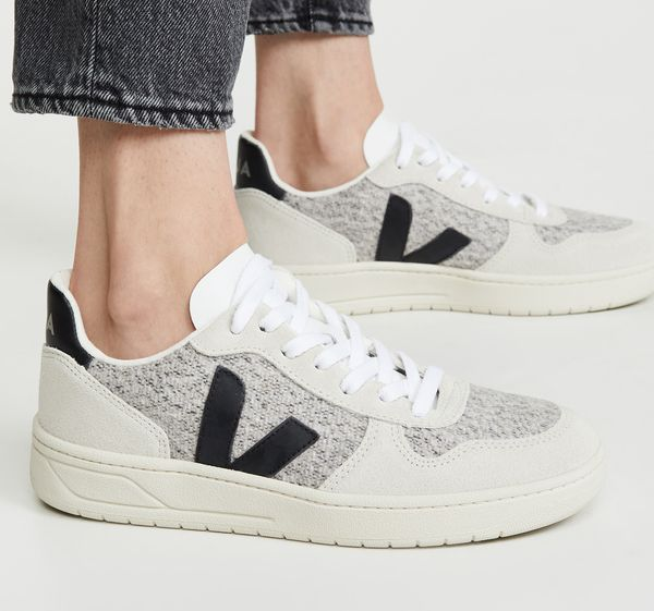 Veja V-10 Sneakers — Snow/Black