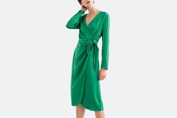 & Other Stories Side Tie Satin Midi Dress