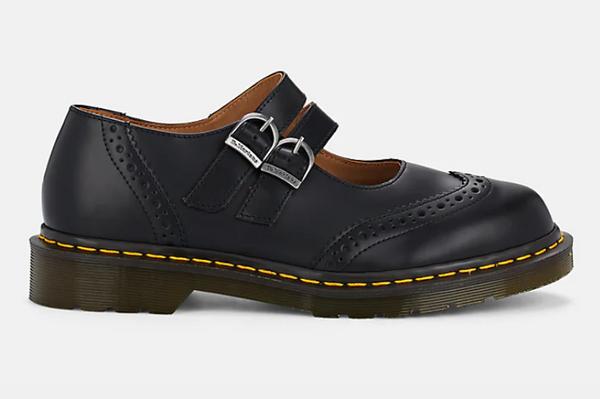 Black Comme des Garçons Leather Mary Jane Flats