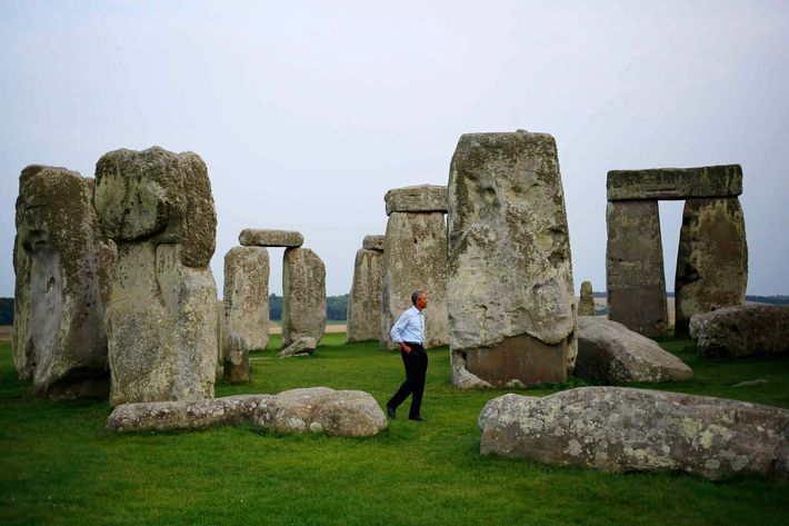 President Barack Obama visits Stonehenge after leaving the NATO summit in Newport, Wales, Friday, Sept. 5, 2014.
