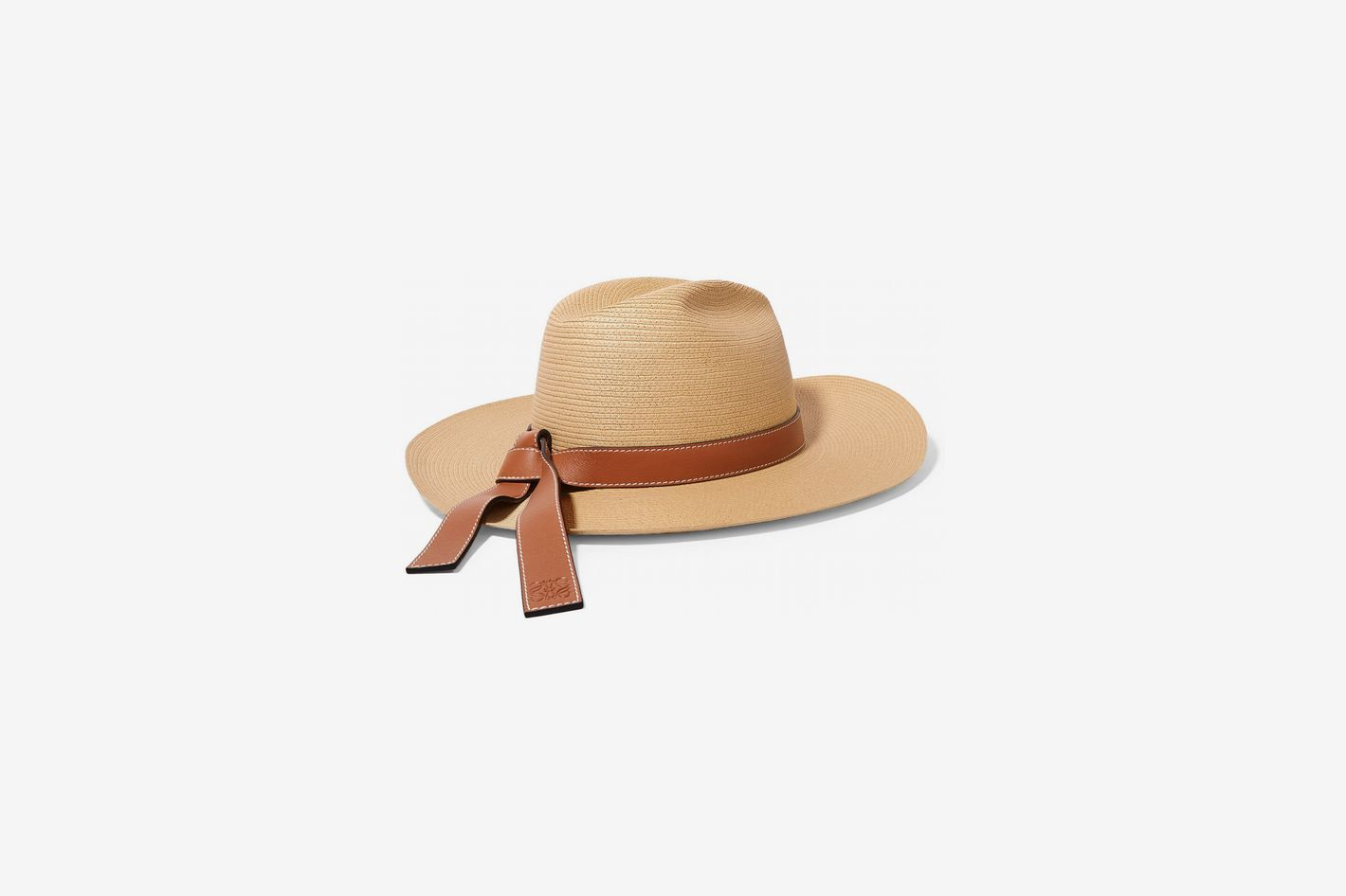 Loewe Paula's Ibiza Leather-Trimmed Straw Hat