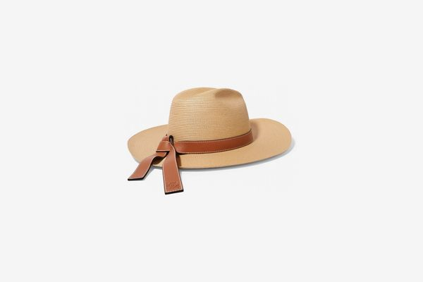 Loewe Paula's Ibiza Leather-Trimmed Straw Hat