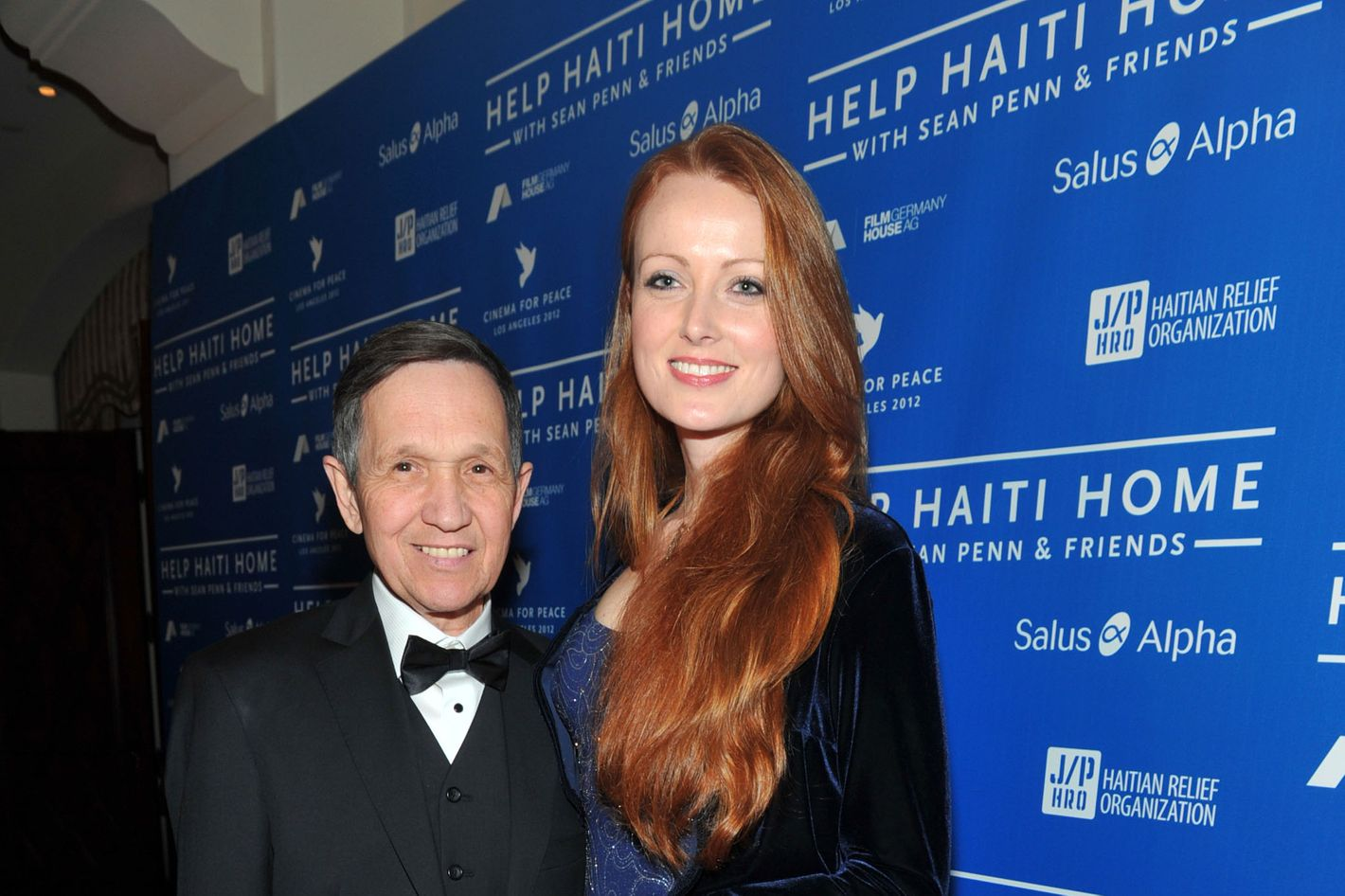 U.S. Representative Dennis Kucinich (L) and wife Elizabeth Kucinich arrive at the Cinema For Peace event benefitting J/P Haitian Relief Organization in Los Angeles held at Montage Hotel on January 14, 2012 in Los Angeles, California.