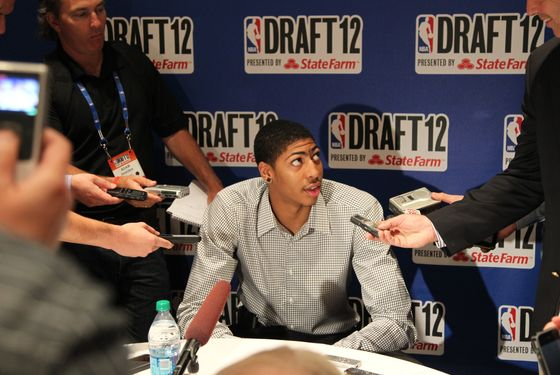 NEW YORK, NY - JUNE 27: Draft prospect Anthony Davis speaks to the media during the 2012 NBA Draft Media Availability on June 27, 2012 at Westin Times Square hotel in New York City. NOTE TO USER: User expressly acknowledges and agrees that, by downloading and/or using this photograph, user is consenting to the terms and conditions of the Getty Images License Agreement.  Mandatory Copyright Notice: Copyright 2012 NBAE (Photo by Jeyhoun Allebaugh/NBAE via Getty Images)