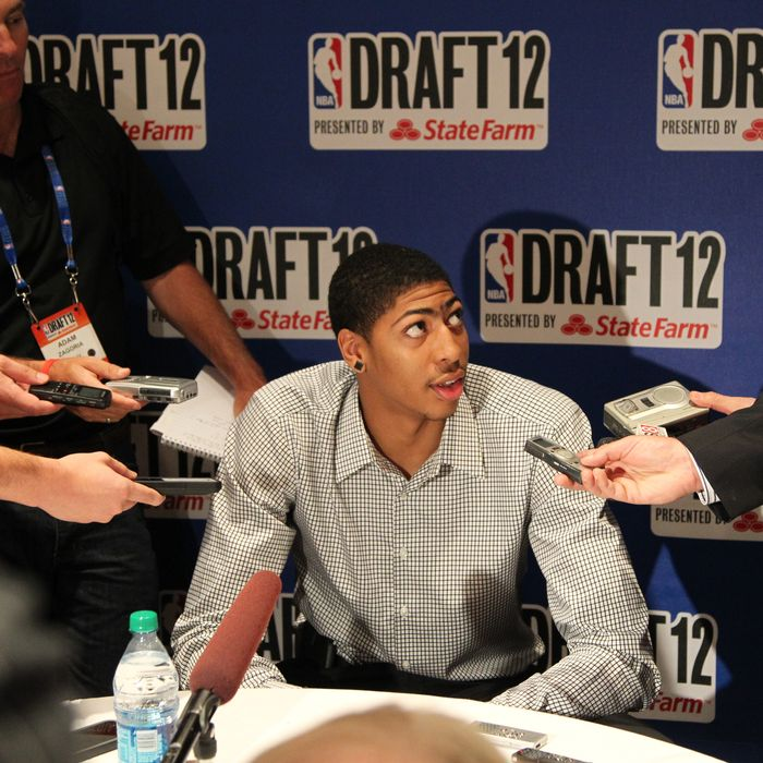 Draft prospect Anthony Davis speaks to the media during the 2012 NBA Draft Media Availability on June 27, 2012 at Westin Times Square hotel in New York City.