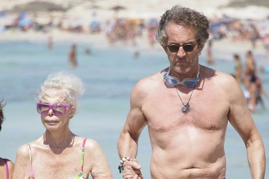 Duchess of Alba, Cayetana Fitz James with her husband Alfonso Diez enjoying a day at the beach while on holiday in Formentera, Spain on August 26, 2012.