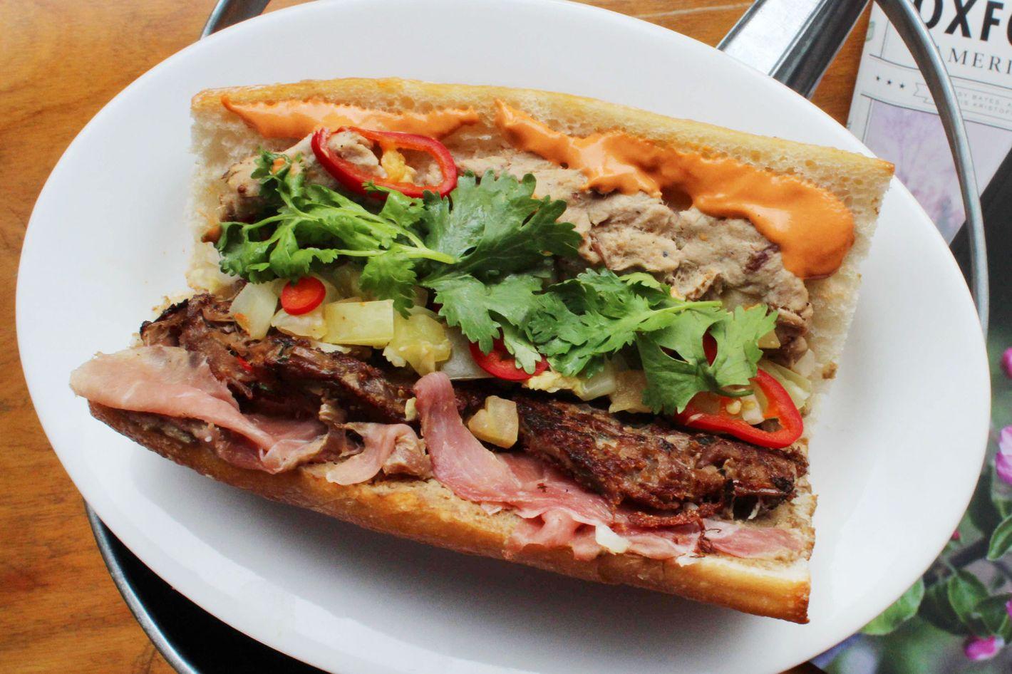 "Marietta's Knuckle Sandwich, a ""southern bánh mì by way of Brooklyn."""