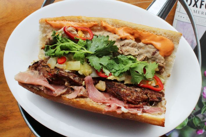 "Marietta's Knuckle Sandwich, a ""southern bánh mì by way of Brooklyn."""