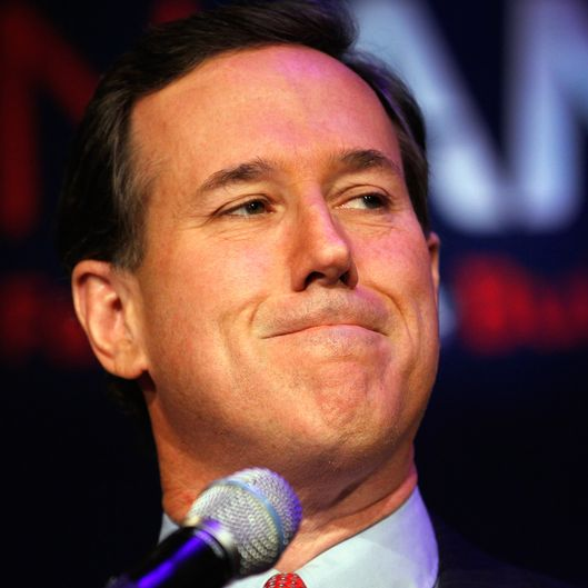 Republican presidential candidate, former U.S. Sen. Rick Santorum as he speaks with supporters at an election night rally on February 28, 2012
