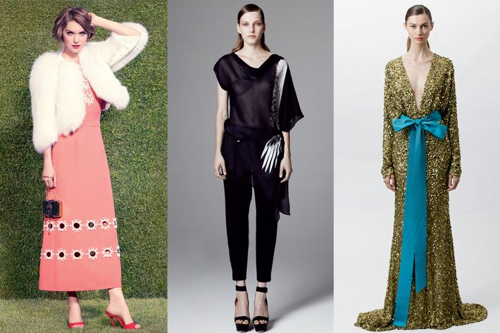 From left: new resort looks from Louis Vuitton, Helmut Lang, and Badgley Mischka.