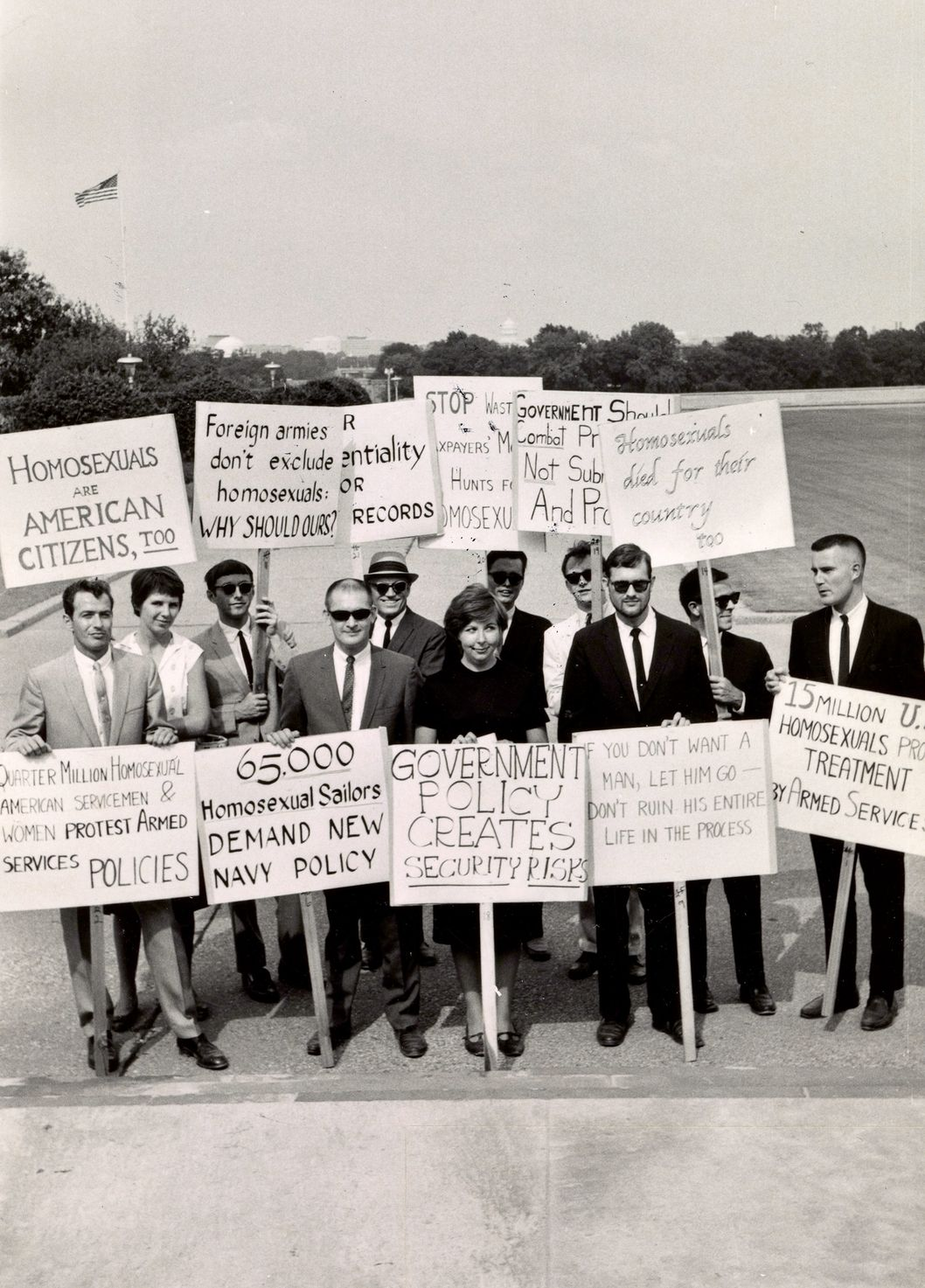 Protestors gather outside the Pentagon in 1965