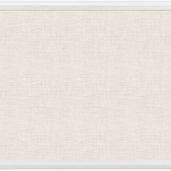 U Brands Cork Linen Bulletin Board, 20 x 30 Inches, White Wood Frame