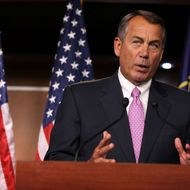 "WASHINGTON, DC - NOVEMBER 30:  U.S. Speaker of the House Rep. John Boehner (R-OH) speaks during a news conference November 30, 2012 on Capitol Hill in Washington, DC. Speaker Boehner held a news conference to respond to U.S. President Barack Obama on the fiscal cliff issue saying ""There is a stalemate. Let's not kid ourselves.""  (Photo by Alex Wong/Getty Images)"