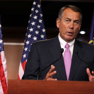 WASHINGTON, DC - NOVEMBER 30: U.S. Speaker of the House Rep. John Boehner (R-OH) speaks during a news conference November 30, 2012 on Capitol Hill in Washington, DC. Speaker Boehner held a news conference to respond to U.S. President Barack Obama on the fiscal cliff issue saying