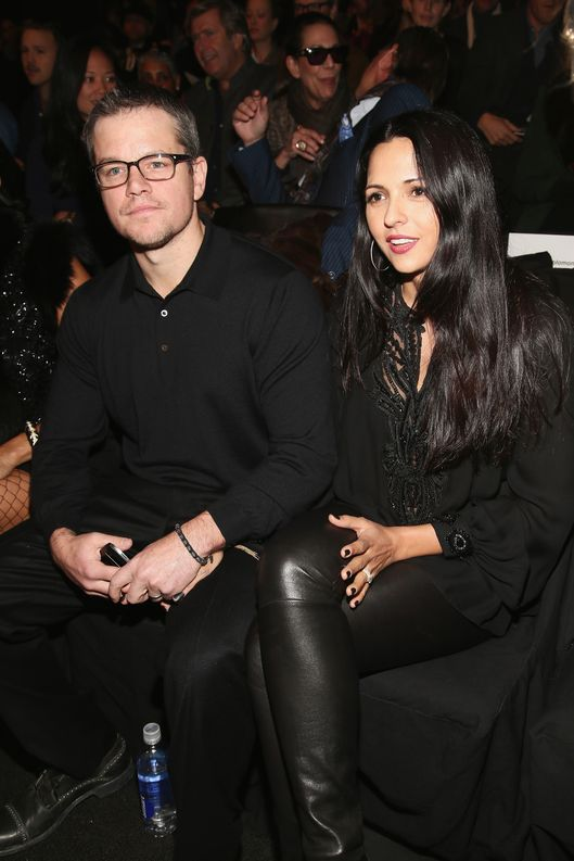 Actor Matt Damon and wife Luciana Barroso attend the Naeem Khan Fall 2013 fashion show during Mercedes-Benz Fashion Week at The Theatre at Lincoln Center on February 12, 2013 in New York City