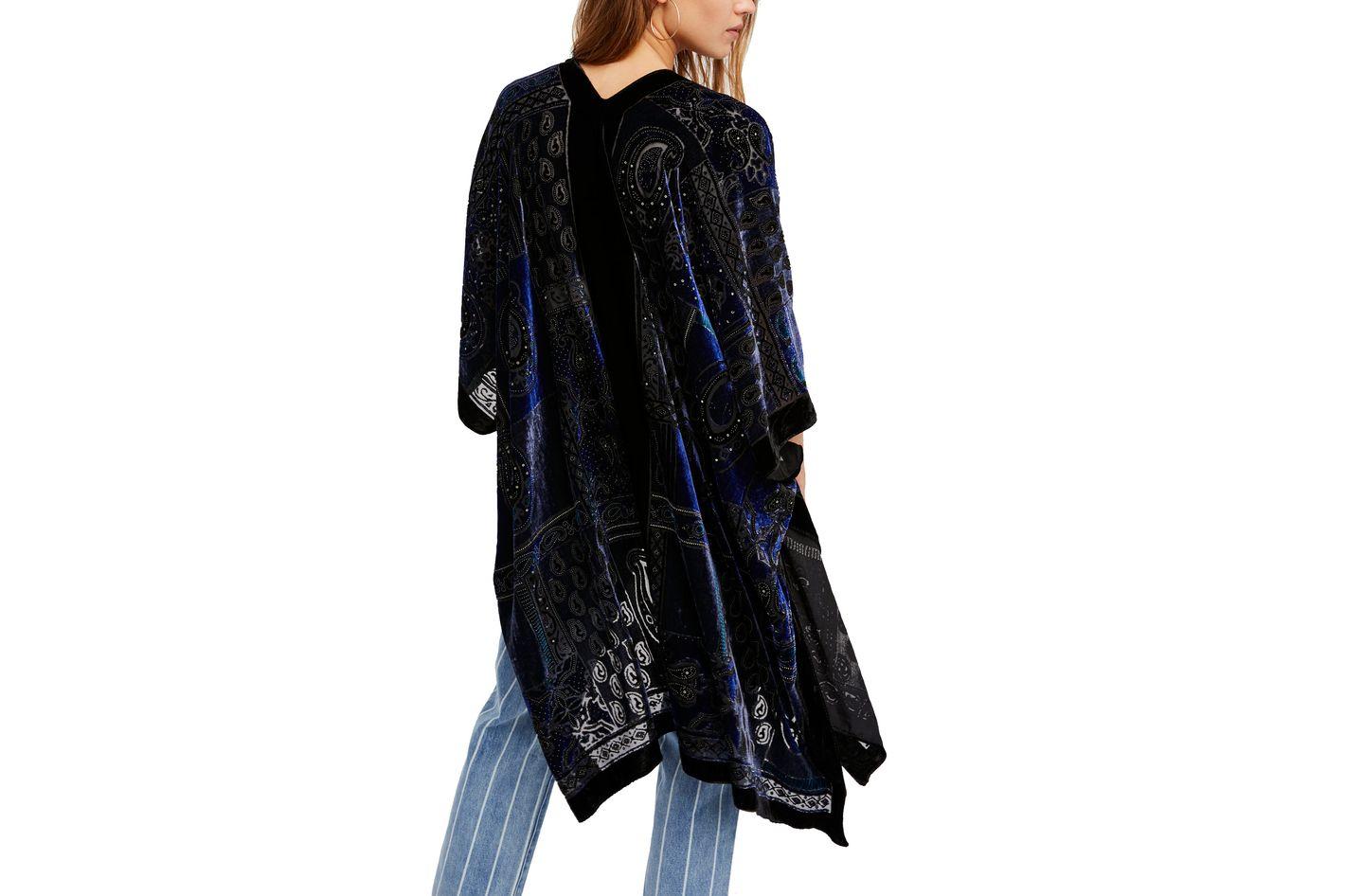 Dark Paradise Velvet Kimono