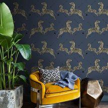 Denim Zebra Safari Scalamandré Self Adhesive Wallpaper
