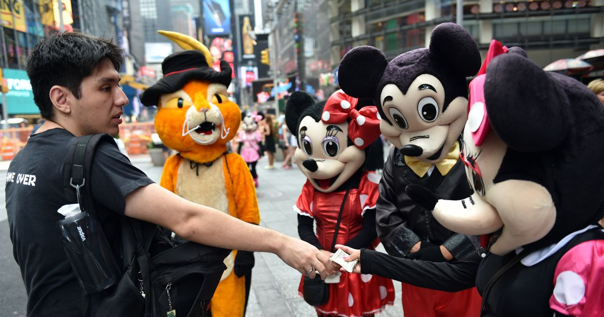 so many costumed characters arrested in times square