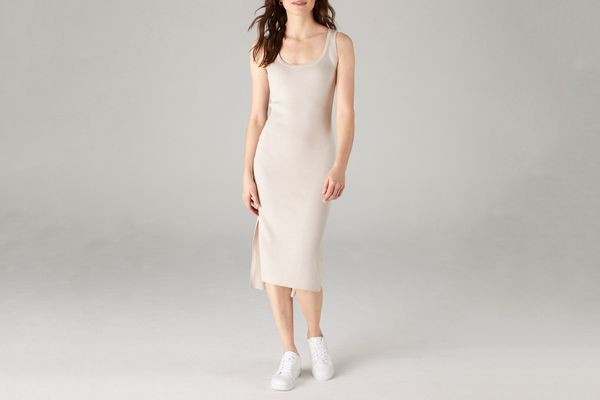 Tank Dress with Side Slits in Pebble