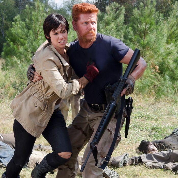 Dahlia Legault as Francine and Michael Cudlitz as Abraham - The Walking Dead _ Season 5, Episode 14 - Photo Credit: Gene Page/AMC