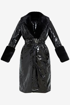 Pretty Little Thing Black Vinyl Trench Coat