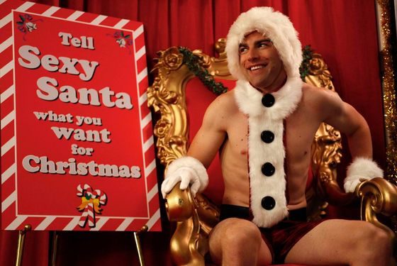 "NEW GIRL:  Schmidt (Max Greenfield) plays ""Sexy Santa"" at his office Christmas party in the ""Christmas"" episode of NEW GIRL airing Tuesday, Dec. 13 (9:01-9:31 PM ET/PT) on FOX. ©2011 Fox Broadcasting Co.  Cr:  Greg G"