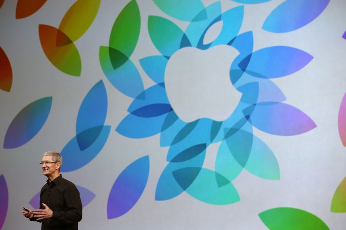 Apple CEO Tim Cook speaks during an Apple announcement at the Yerba Buena Center for the Arts on October 22, 2013 in San Francisco, California. The tech giant is expected to announce its new iPad 5, iPad mini 2, OS X Mavericks and possibly a new retina MacBook Pro.