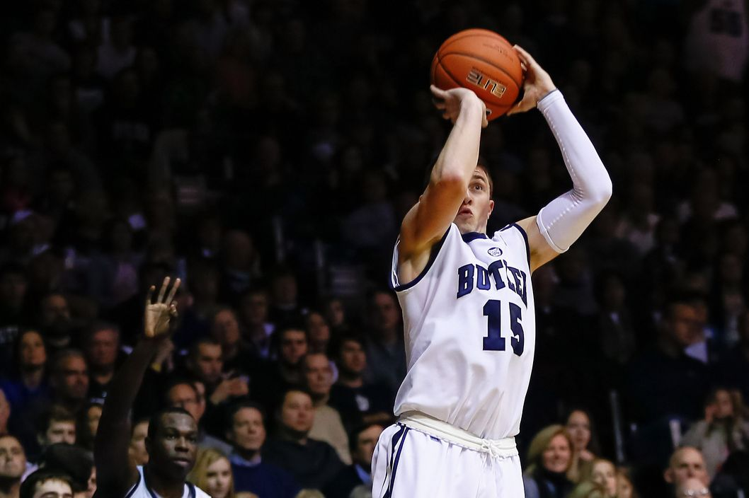 INDIANAPOLIS, IN - FEBRUARY 02: Rotnei Clarke #15 of the Butler Bulldogs shoots a three pointer against the Rhode Island Rams at Hinkle Fieldhouse on February 2, 2013 in Indianapolis, Indiana. Butler defeated Rhode Island 75-68. (Photo by Michael Hickey/Getty Images)