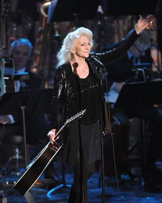 NEW YORK, NY - MARCH 14: Singer Judy Collins performs onstage at the 26th annual Rock and Roll Hall of Fame Induction Ceremony at The Waldorf=Astoria on March 14, 2011 in New York City. (Photo by Michael Loccisano/Getty Images) *** Local Caption *** Judy Collins