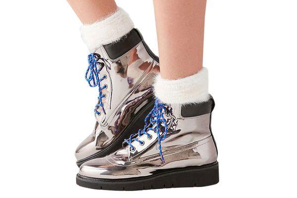 Shellys London Erin Silver Hiker Boot
