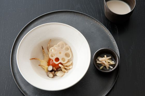 Beef-cured egg yolk, lotus root, water chestnut, mukago, lily bulbs and pickled ginger.