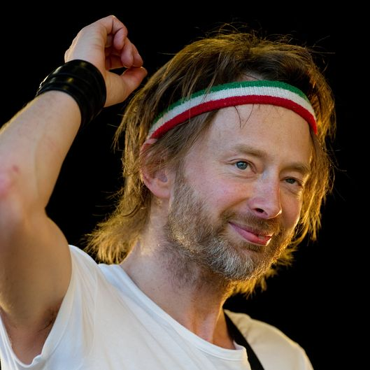 Thom Yorke of British band Radiohead performs as a special surprise performer on The Park stage at the Glastonbury festival near Pilton, Somerset on June 25, 2010.  Celebrating it's 40th anniversary this year, the festival showcases some of the world's best artists from all areas of music and performance.  This year's headline acts on the main stage include Muse, Gorillaz and Stevie Wonder.  U2 were set to also perform until lead singer Bono had to pull out due to needing emergency spinal surgery. AFP PHOTO/Leon Neal (Photo credit should read LEON NEAL/AFP/Getty Images)