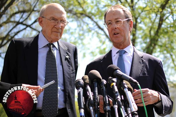 Democrat Erskine Bowles (R) and Republican Alan Simpson speak to reporters after their meeting with US President Barack Obama at the White House in Washington, DC, on April 14, 2011. Obama met with the men who led a bipartisan fiscal commission on April 14, launching a hard sell of his 4 trillion USD deficit plan amid a building row with Republicans. Obama and other White House officials mounted a strong push to win acceptance of the 12-year-plan laid out by the president on Wednesday, while his foes on Capitol Hill sought to build momentum behind their rival effort. AFP Photo/Jewel Samad (Photo credit should read JEWEL SAMAD/AFP/Getty Images)