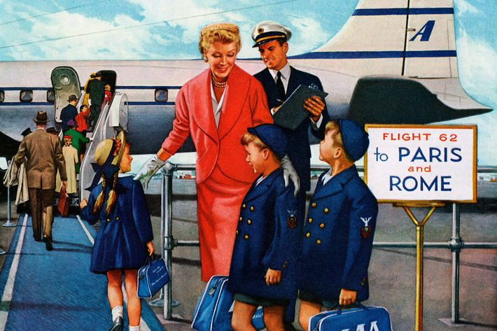 vintage 1960s pan am ad woman getting off plane- strategist best travel accessories and gear