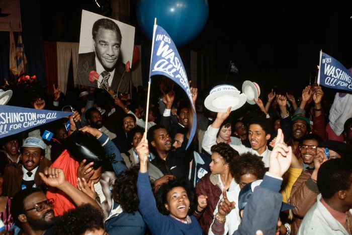 Harold Washington supporters rally in Chicago.