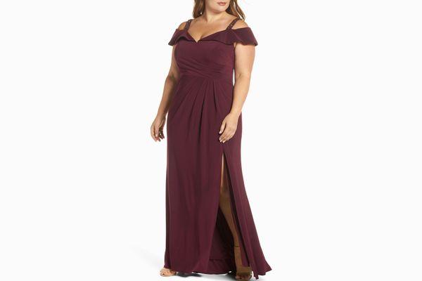 Xscape Embellished Off the Shoulder Knit Gown