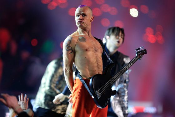 Flea of the Red Hot Chili Peppers performs during the Pepsi Super Bowl XLVIII Halftime Show at MetLife Stadium on February 2, 2014 in East Rutherford, New Jersey.
