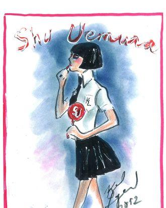 Karl Lagerfeld's sketch of Mon Shu.