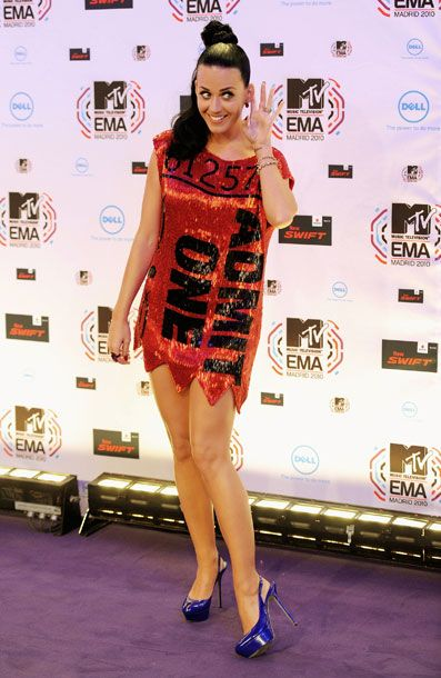 "<b>When:</b> November 2010     <b>Where:</b> The MTV Europe Awards. Katy Perry has seriously never met an MTV–hosted event she didn't attend.     <b>What:</b> There's ""delightful BeDazzled whimsy"" and then there's ""opening the door for bloggers to make inappropriate sex jokes."" You choose which category this falls into."