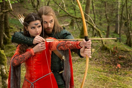 Picture shows: Jenna Coleman as Clara and Tom Riley as Robin