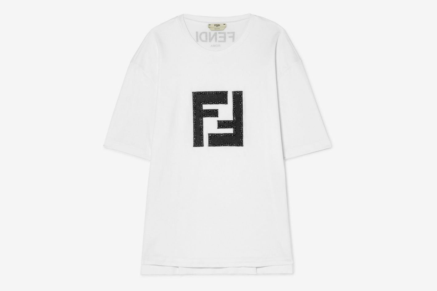 Fendi Embellished lamé and stretch-cotton jersey T-shirt