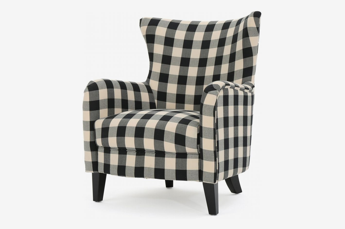 Adair Black and White Plaid Fabric Club Chair